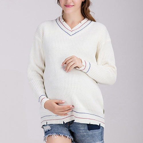 V Collar Long Sleeves Side Hole Maternity Sweater