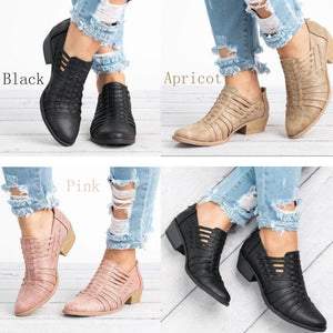 Women Vintage Plus Size Hollow Out Stylish Short Boots
