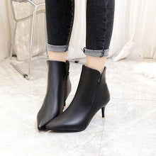 Artificial PU High Heeled Side Zipper Boots