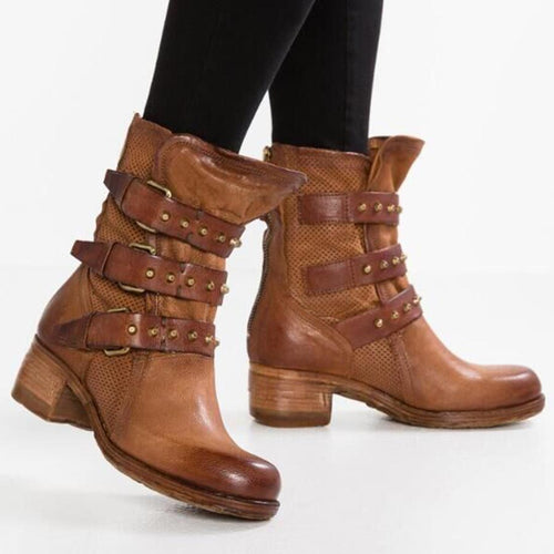 Plain  Chunky  Low Heeled  Round Toe  Date Outdoor Flat Boots