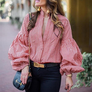 Band Collar  Plaid  Bishop Sleeve Shirts&Blouses
