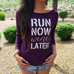 Casual Long Sleeve Letter Print T-Shirts