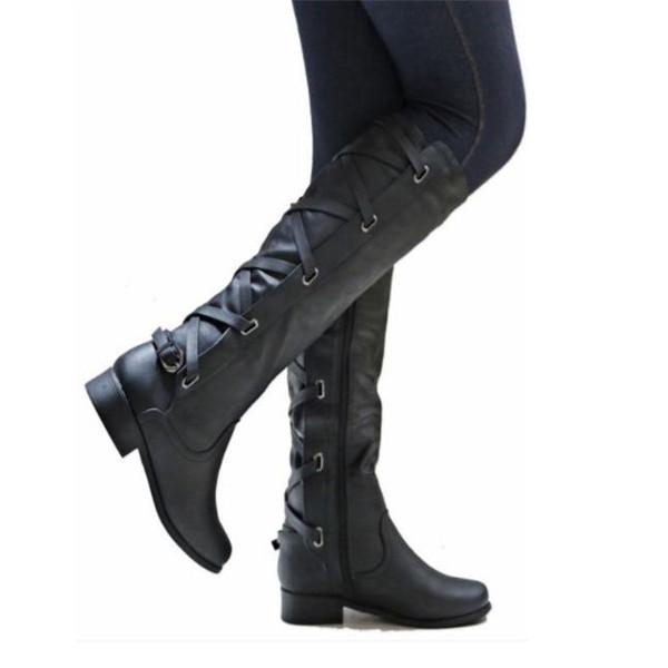 Fashion Casual Leather Plain Thermal High Tube Boots
