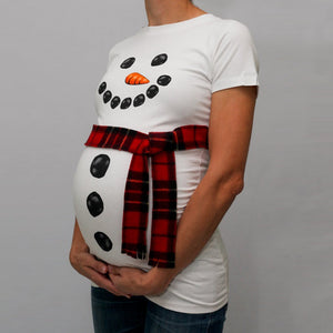Christmas Style Snowman Pattern T-Shirt Without Belt