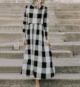 Fashion Round Collar Square Long-Sleeved Dress