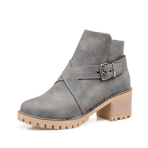 Fashion Zipper Coarse Heel Short Boots