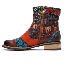 Leather Fine Print Ladies Ankle Boots
