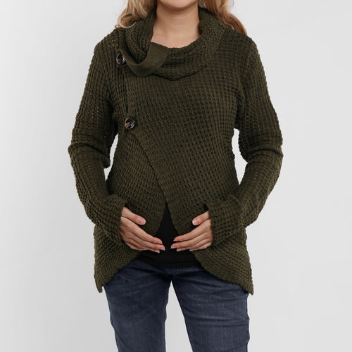 Maternity High-Collared Turtleneck Long-Sleeved Sweater