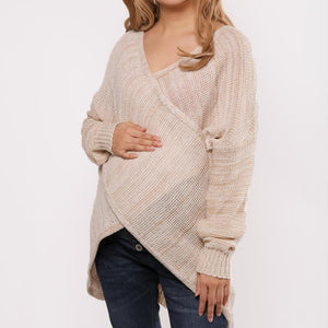 Maternity Surplice  Patchwork  Plain  Batwing Sleeve Sweaters