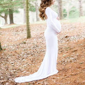 Maternity Pure White Long Sleeve Gown