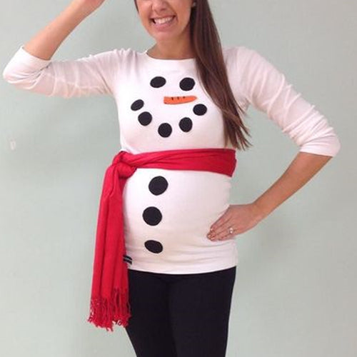 Christmas Style Snowman Pattern Long Sleeve T-Shirt Without Belt