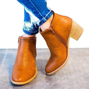 Plain  Chunky  Mid Heeled  Point Toe  Date Outdoor  Short High Heels Boots