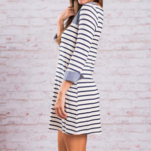 Autumn And Winter Long-Sleeved Denim Stitching Striped Dress