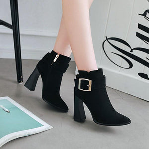 Casual Belt Buckle Large Size Women Boots