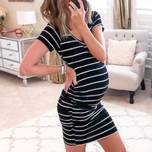 Maternity V-Neck Stripe Short Dress