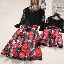 Mom Girl Lace Flower Prints Self Tie Matching Dress