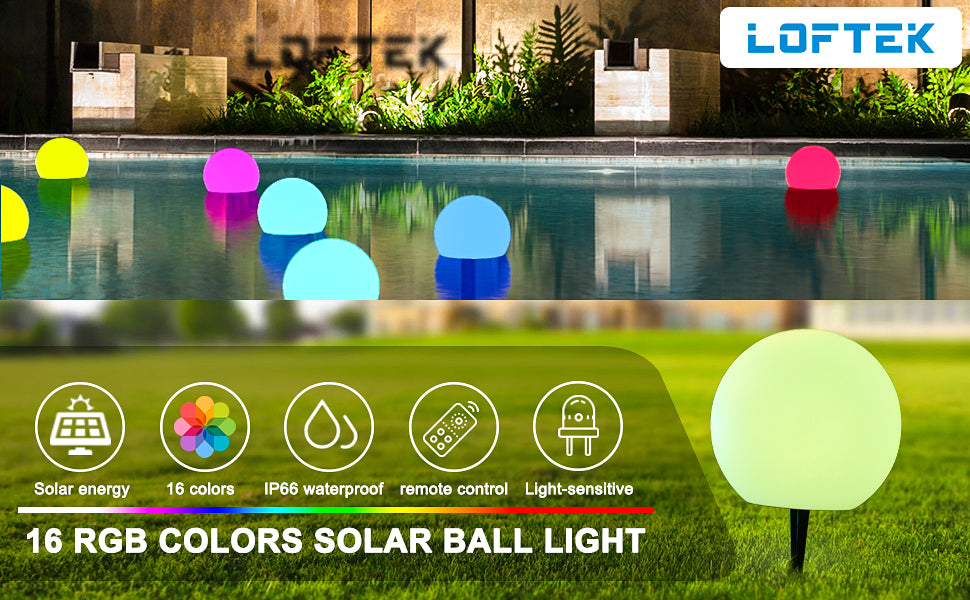 LOFTEK 8-inch RGB LED Solar Ball Light
