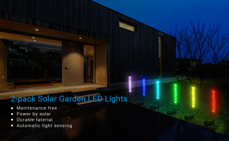 LOFTEK Color Changing Solar Stake Lights