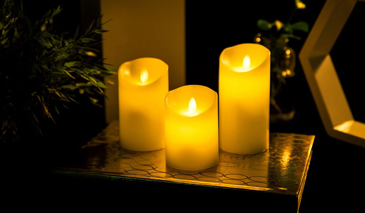 LOFTEK moving wick electric LED candle sets for Thanksgiving table decor