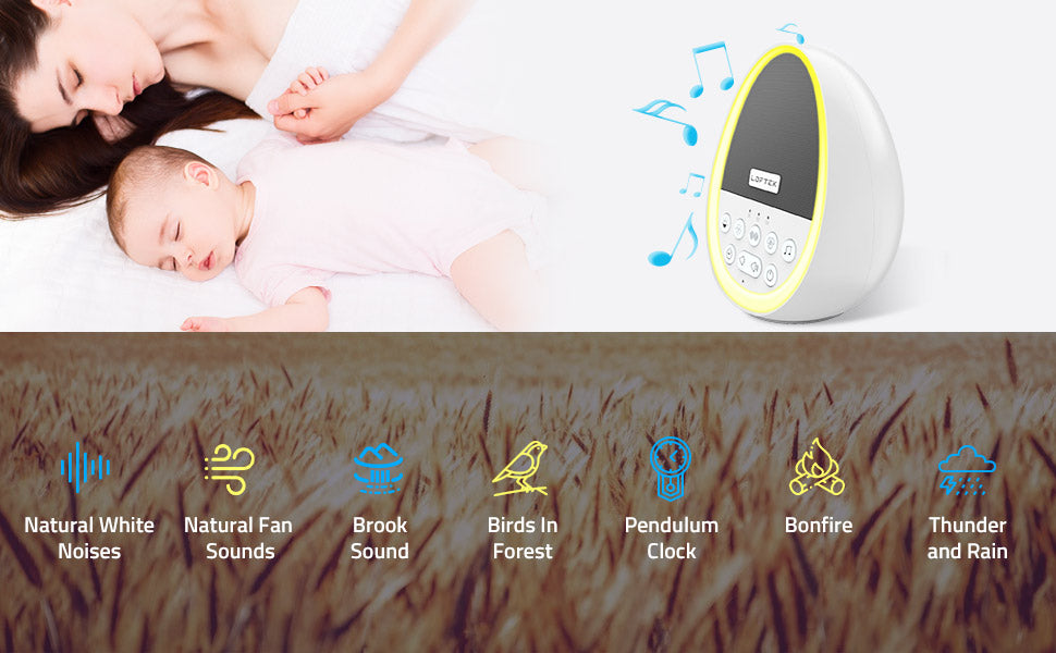 LOFTEK Rechargeable Sound Machine With Night Light for baby