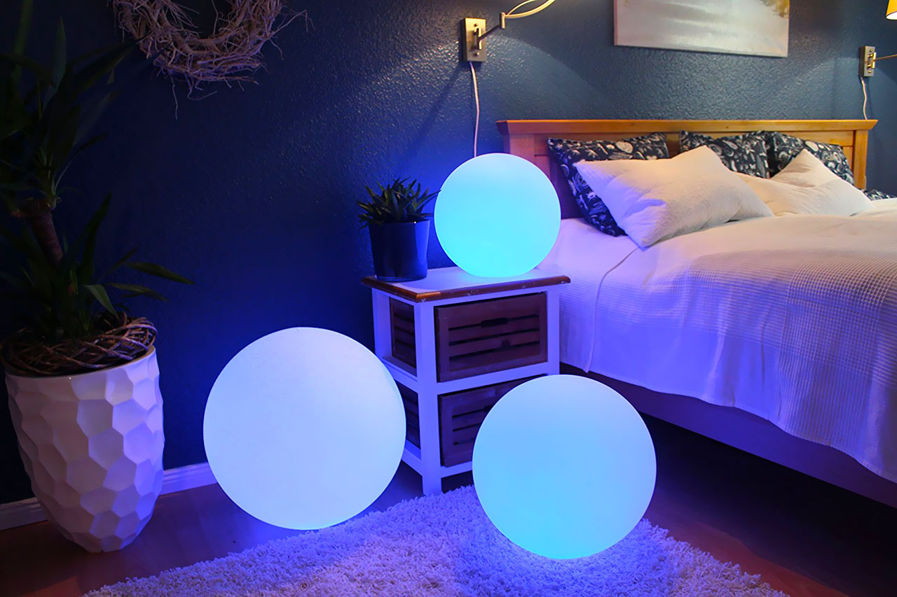 cozy bedroom decor with led rgb ball light