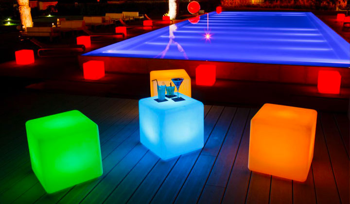 led cube seat for outdoor party
