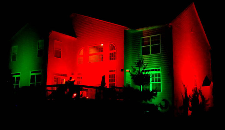 halloween decoration ideas light up house red green color