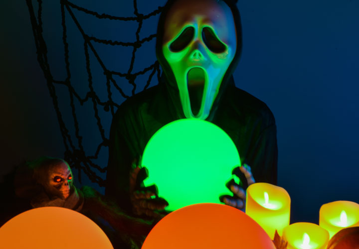 Halloween ghost costume with LOFTEK led rgb ball light