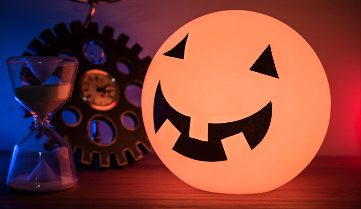 Pumpkin Evil Scary Smile sticker on LOFTEK glow ball light for halloween decoration