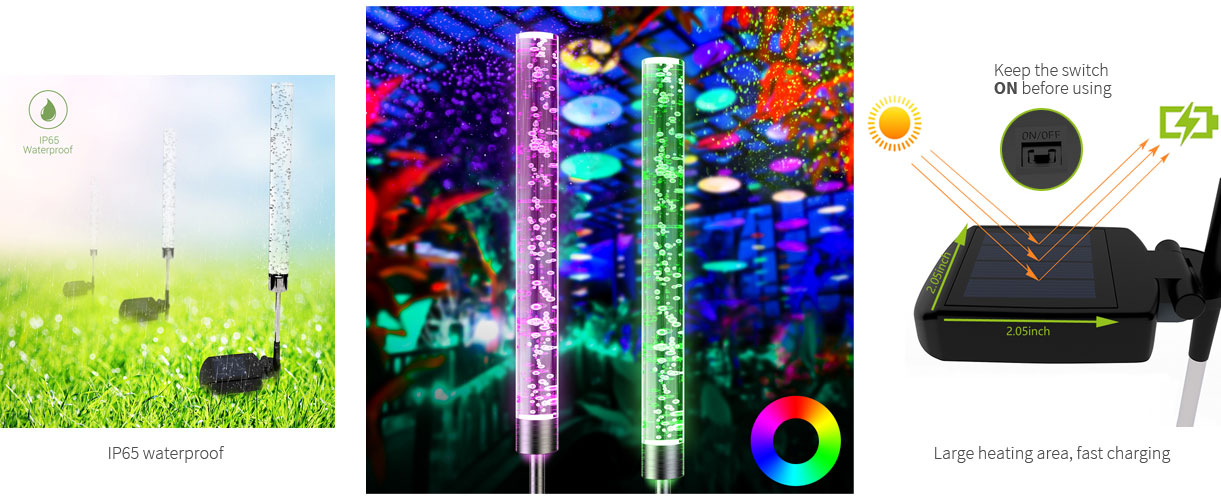 LOFTEK 2-Pack RGB LED Color Changing Solar Stake Lights