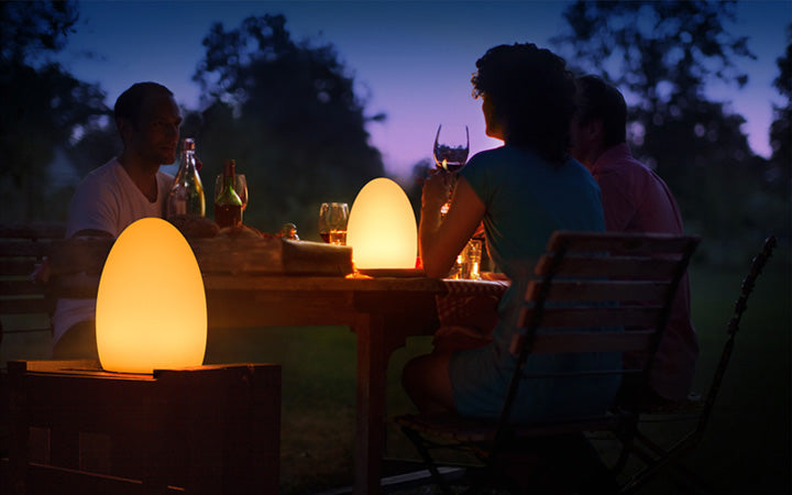 led mood lamp decor for outdoor dinner party