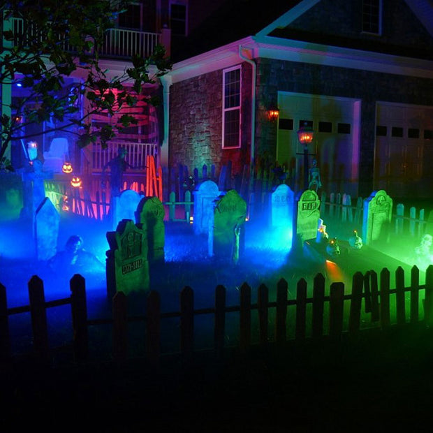 loftek color led rgb flood light Create a frightfully fantastic effect cemetery