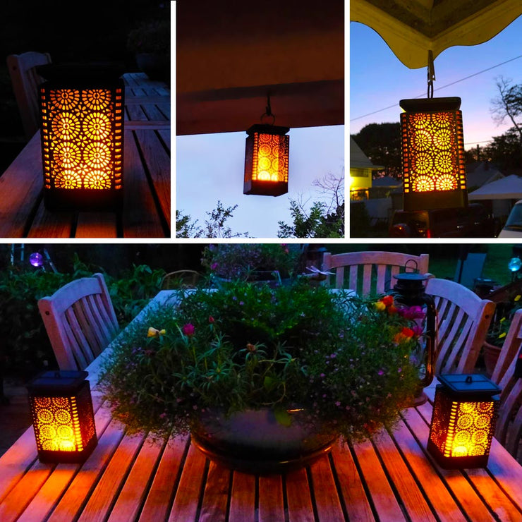 2-Pack LED Hanging Solar Lanterns