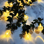 LED Crystal Ball String Lights With Leaves Cane
