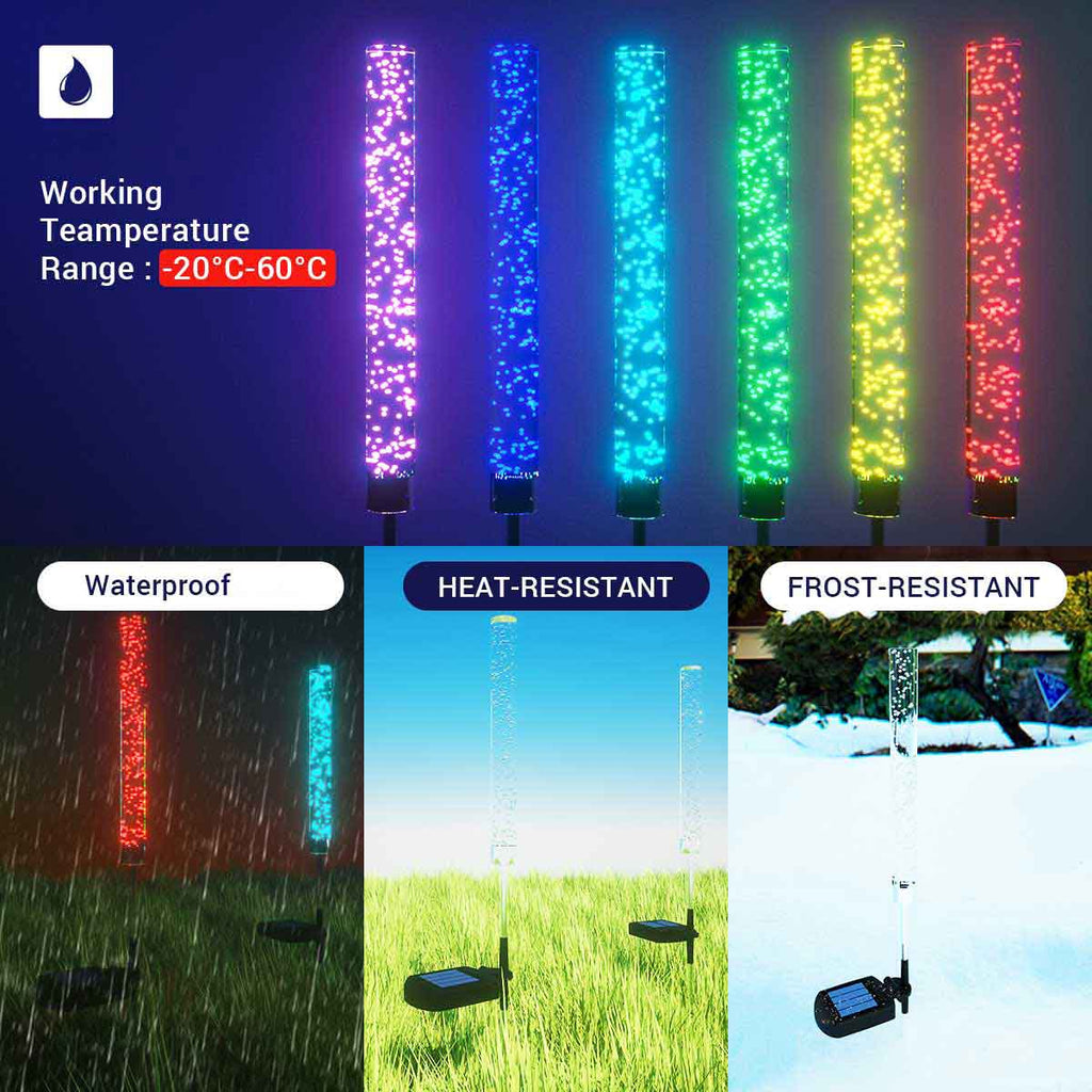 2-Pack RGB LED Stake Lights outdoor backyard decor
