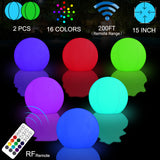 2-Pack 15-inch RGB LED Inflatable Ball Light