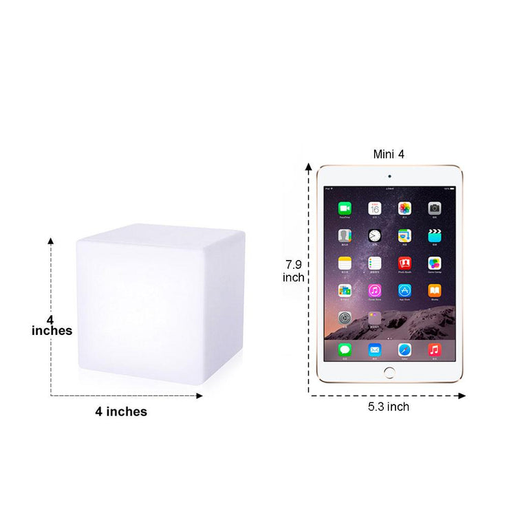 loftek led cube light 4-inch size comparison