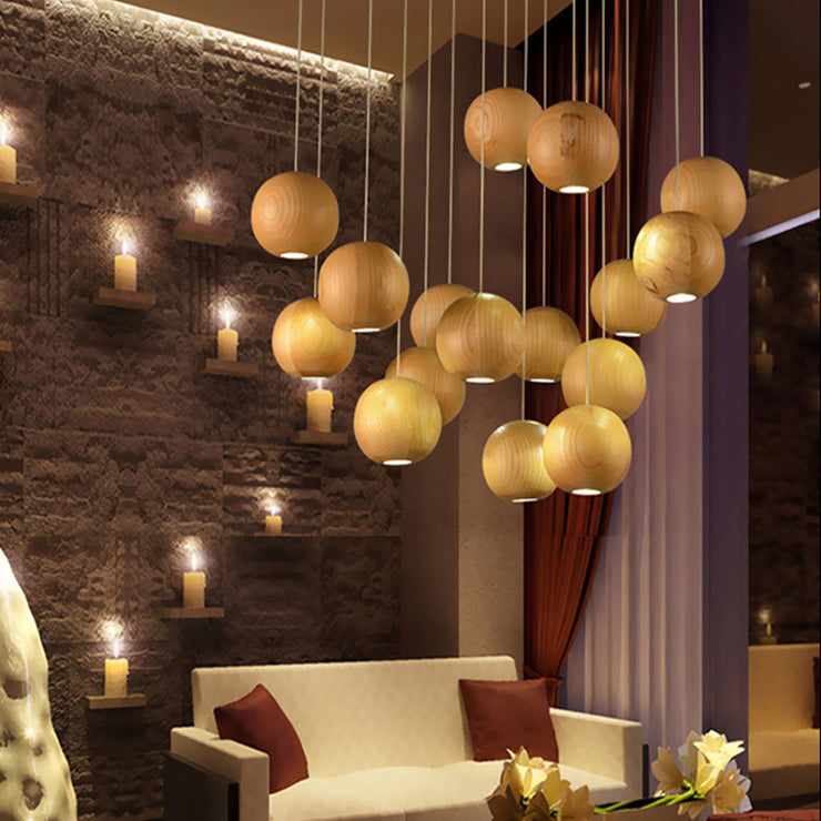 Modern Wooden Globe Pendant Lighting for living room