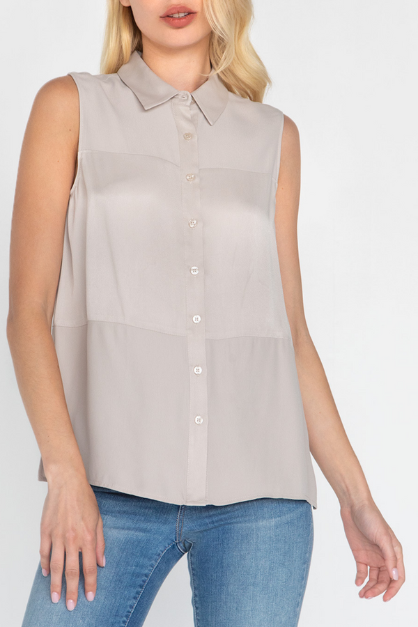 ELAINA BUTTON DOWN COLLAR TOP