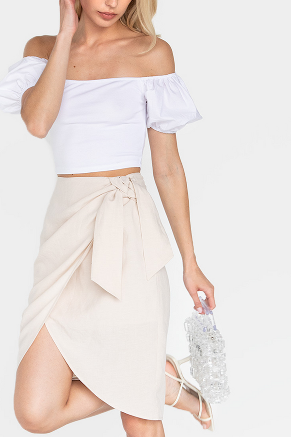 DEVON LINEN WRAP SKIRT - LOST APRIL