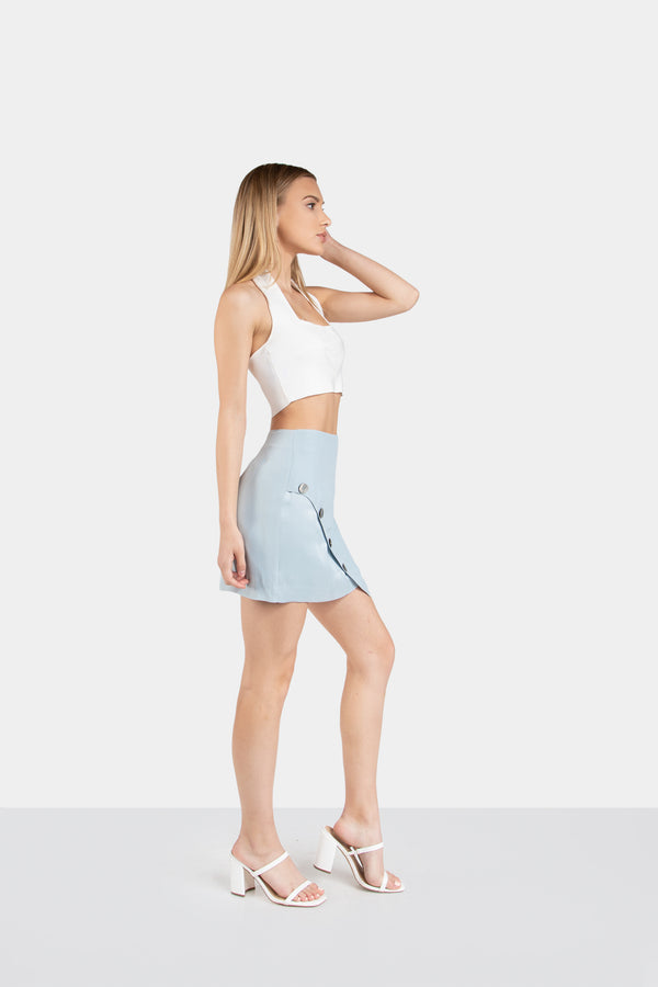 JAELYN BUTTON DOWN MINI SKIRT - LOST APRIL