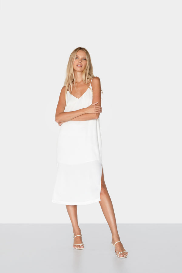 BEATRICE SATIN SLIP DRESS OFFWHITE FRONT