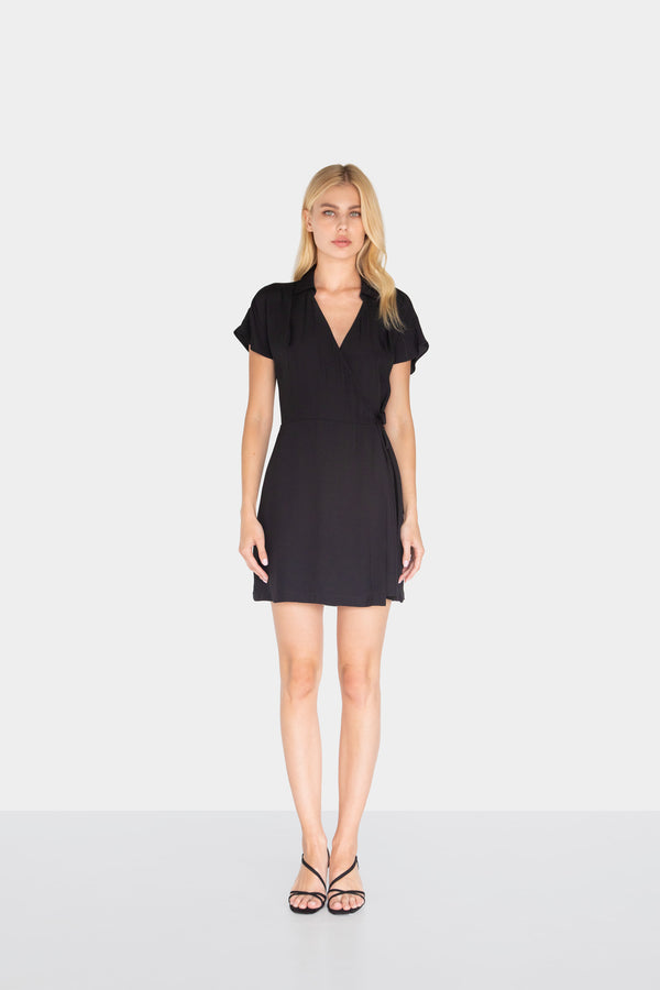 MARACUYA MINI WRAP DRESS BLACK 01