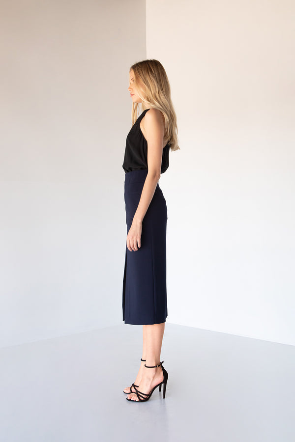 ALECIA MIDI SLIT SKIRT - LOST APRIL