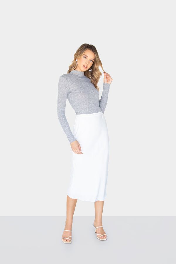 SKY MIDI PENCIL SKIRT OFFWHITE FRONT