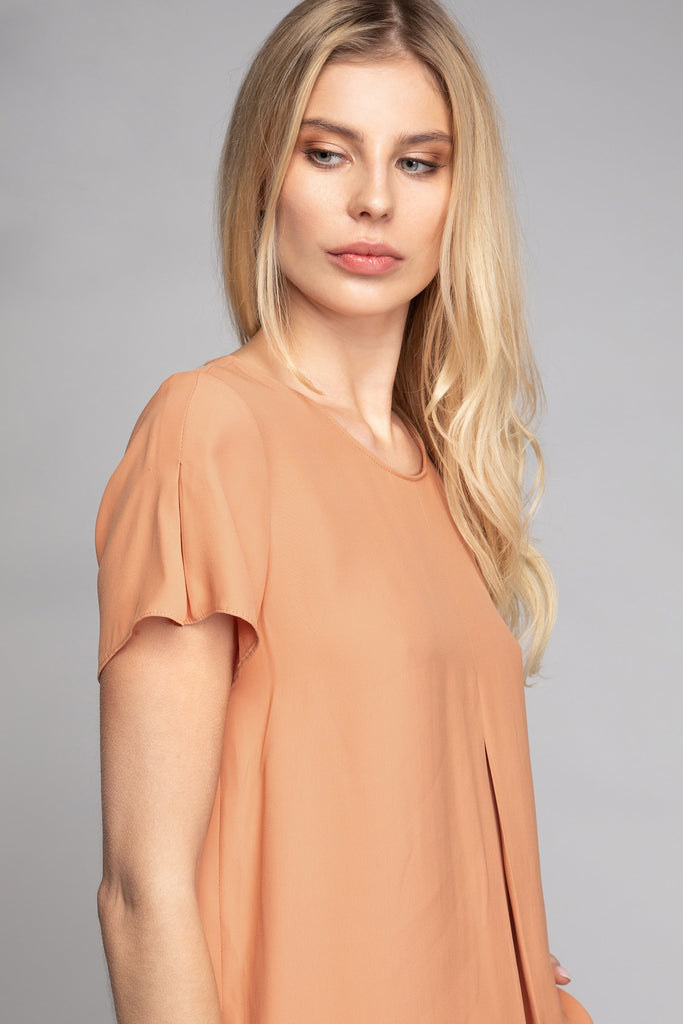 SHERRY SHORT SLEEVE BLOUSE TAWNYORANGE DETAIL