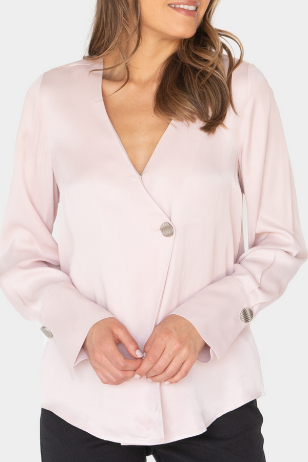 MARJORIE SILKY BUTTON LONG SLEEVE BLOUSE