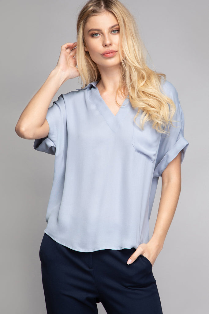 RUBI DROP SHOULDER BLOUSE - LOST APRIL