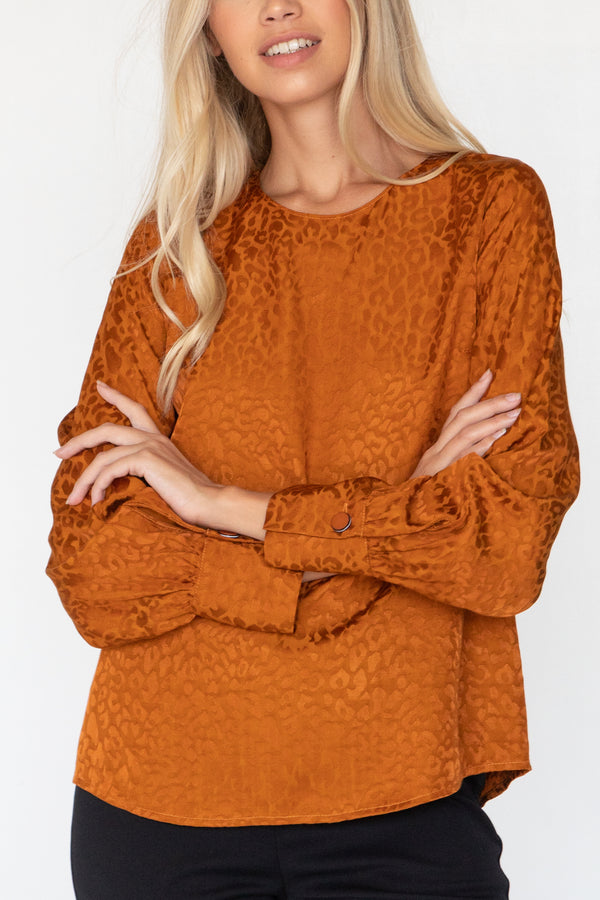 EDEN JACQUARD LEOPARD LONG SLEEVE BLOUSE - LOST APRIL