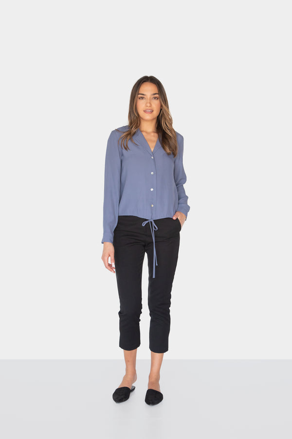 AURELIA DRAWSTRING SHIRT NIGHTBLUE FRONT